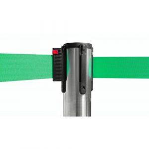 colonnina-segna-percorso-acciaio-lucido-base-piatta-nastro-verde-3-metri-ultra-pesante-15-kg-1
