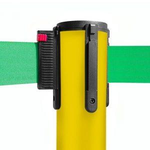 colonnina-segna-percorso-giallo-base-piatta-nastro-verde-3-metri-ultra-pesante-15-kg-1